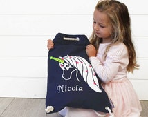 Kids Backpack Navy Unicorn Personalised, Kids Library bag, Kids duffle Bag, Personalised backpack,Girls bag,Personalized Bag,childs bag