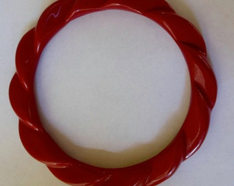 80s Plastic Bangle Rust Colored Twisted Design