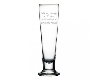 Personalised Engraved Tall Beer Lager Glass
