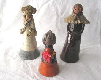 3 Vintage handmade clay sculpture ceramic figurines