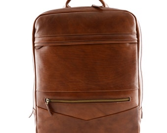 Genuine Leather Man Backpack with Laptop Pocket - Railer - Tuscan Leather, Genuine leather backpack 100%
