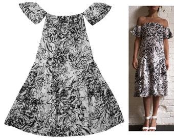 Stunning Off Shoulder White Dress BlackFloral