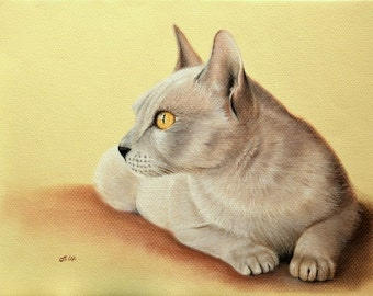"Original pastel drawing cat 9.5""x12.5"" (24x32cm)"