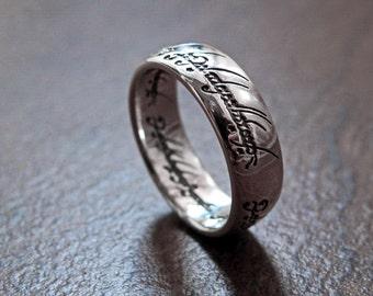 magic elvish scripted frodos ring fantasy solid sterling silver 925 size 6 75 85 - Elvish Wedding Rings