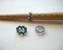 Lot of 3 rings, beaded rings, bead woven rings, beaded flower ring, size 6 to 7 rings, blue ring, green ring, beadweaving, beadwork rings