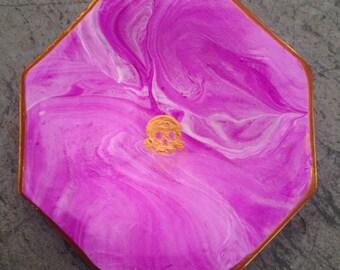 Purple Marbled Skull Jewelry Dish