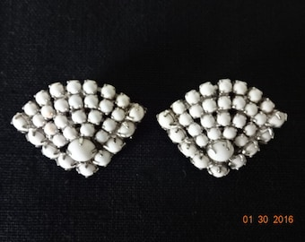 White glass bead clip on earrings