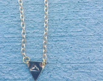 mountains are calling necklace, Mountains, Triangle Necklace, Geometric Necklace, Shapes Necklace