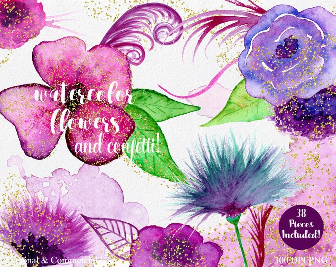 PURPLE & PINK WATERCOLOR Floral Clipart Commercial Use Clipart 38 Watercolor Flower Leaves Gold Confetti Watercolor Splashes Floral Clip Art