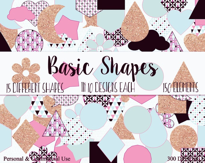 FUN SHAPES CLIPART Commercial Use Clip Art Blush Pink Blue & Gold Glitter Circle Star Triangle Hexagon Planner Sticker Clipart Shape Graphic
