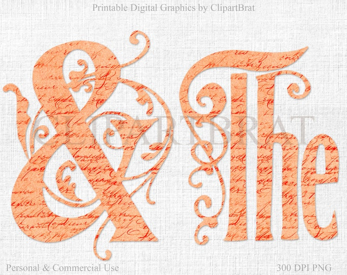 WEDDING ALPHABET Clipart Commercial Use Clip art French Script Texture Coral Monogram Font Alphabet Letters Digital Alpha Wedding Monogram