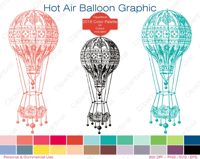 HOT AIR BALLOON Clipart Commercial Use Clipart Air Ship Graphic 2016 Color Palette 24 Colors Balloon Vector Graphic Digi Sticker Png Eps Svg