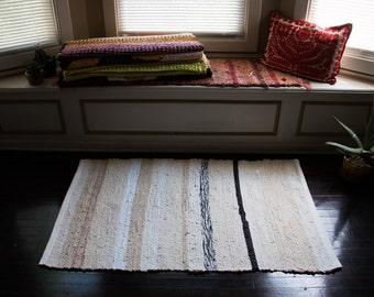 Neutral Tan Hand Made Woven Rag Rug