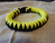 Paracord Bracelet,Survival Bracelet,Black And Yellow,Paracord,Cork Screw,Unique Paracord Patterns,Buckle Bracelets,550 Cord,Parachute Cord