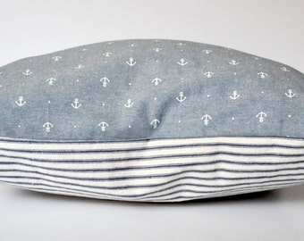 REVERSIBLE PILLOW COVER // Nautical Striped Pillow, Anchor Pillow, Chambray Pillow, Anchor, Blue, Chambray