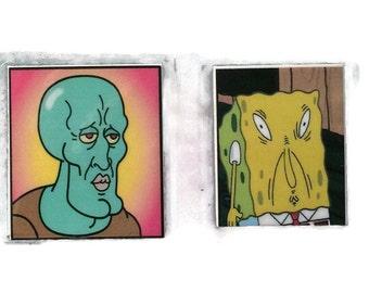 Handsome Squidward Magnet Funny Spongebob Face Tile Magnet