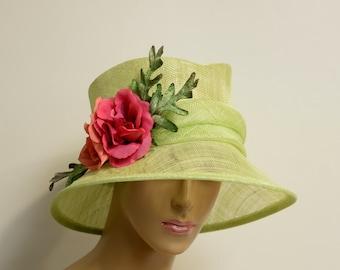 Green/red-pink flowers/green leaves Sinamay small Brim Hat, Elegant Kentucky Derby Hat, Wedding ,Church,Formal,Dressy Hat,Downton Abbey