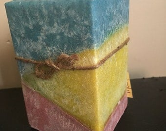 "Tri-color/scented 4"" square pillar candle"
