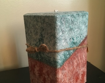 "Uplifting Duocolor/scent 4"" Square pillar"