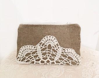 Vintage doily zipper clutch Linen Burlap Clutch Vintage Doily clutch Bridesmaid Gift Doily bag