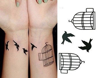 Birds out the cage - tijdelijke tattoo / temporary tattoo