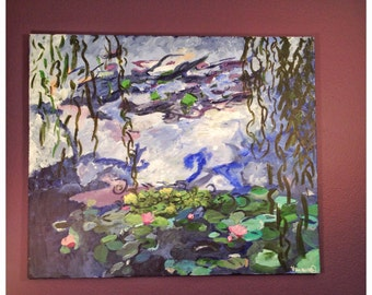 Almost Monet. Original One of a Kind Abstract Impressionist Acrylic Painting on Canvas.