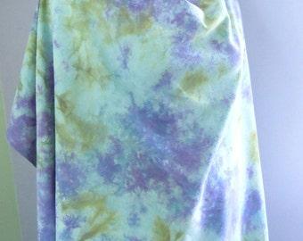 "Hand Dyed Silk Fabric, ""Field of Irises"", Hand Dyed Fabric, Raw Silk Noil, silk fabric, aqua, blue, purple, teal, bronze, gold, 1 yard"