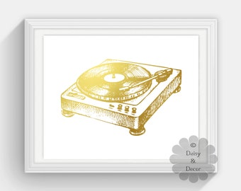 Turntable REAL Gold foil print art gold office decor gold home decor real gold foil print gold wall art music gold wall art Music lover gift