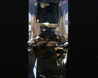 Vintage Smokey Quartz Gold Ring - 15ct In Size Dated 1967