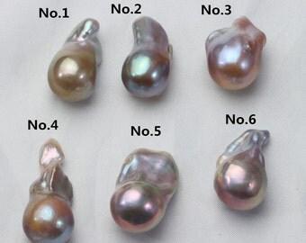 14-16mm*20-25mm Large Fireball Pearl,Irregular Loose Pearl Bead,Flameball Pearl,Nuclear Pearl,Nucleated Pearl N0.001-006