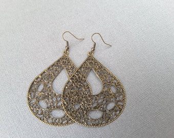 Large Antique Brass Filagree Teardrops . Earrings