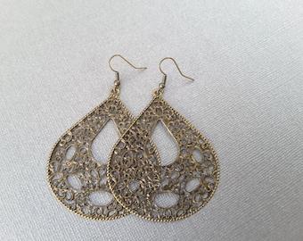 Large Antique Brass Filagree Teardrops . Earrings