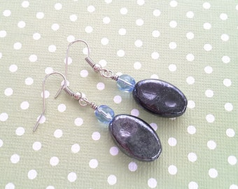 Unique Gray Glass Ovals and Blue Crystals Dangles . Earrings