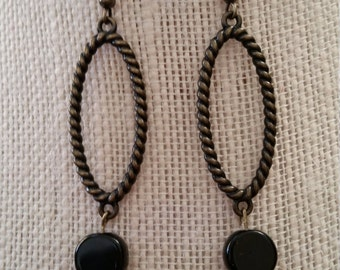 Antique Brass and Black Bead Drops