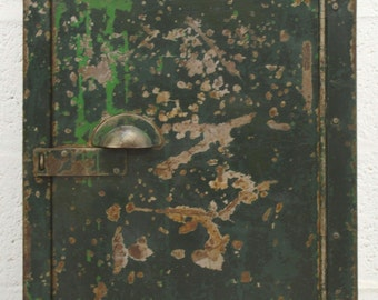 Mid-Century Retro Industrial Green Metal Cabinet