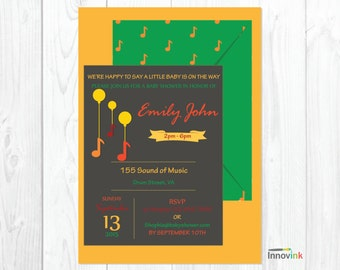 Musical Ballons Baby Shower Invitation -Music Notes Invitation -Personalized DIY Printable-Envelope Style Invitation -Chalkboard Invite Card