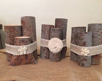 Wood candle holders, log candle holders, rustic candle holders
