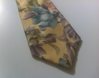 Vintage Christian Dior Men's Tie Floral Yellow 100% Silk