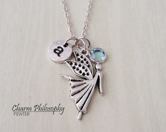 Angel Necklace - Memorial Jewelry - Monogram Personalized Initial and Birthstone