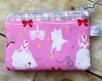 Disney Cinderella inspired change purse/ coin pouch/ small zipper pouch