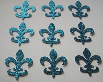 Fleur de lis die cuts- Frozen Colors - Teal Blue Glitter - 50ct - Cardmaking- Princess Elsa - Confetti-Decor - Scrapbook - Parties