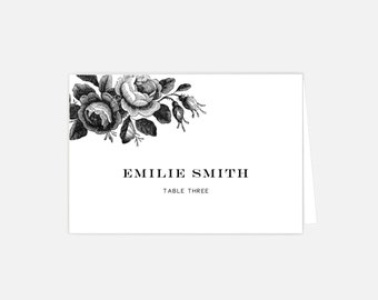 Printable Wedding Place Card Template - Instant Download | Floral Vintage Seating Cards | DIY Wedding Place Cards
