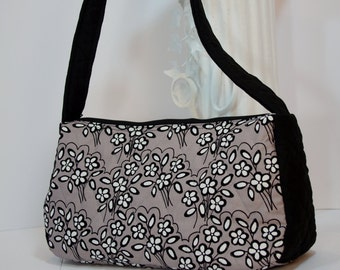 Purse satchel top handle quilted shoulder bag purse (in charcoal floral 003)