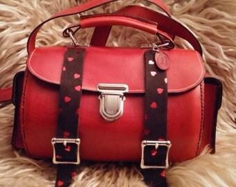 Red round leather shoulder bag