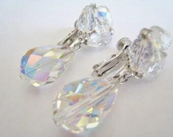 Vintage Vendome Crystal Aurora Clip Earrings