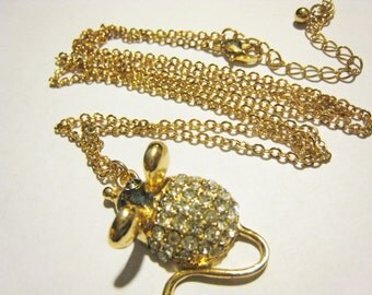 Rhinestone Drop Mouse on Long Chain