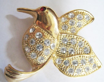 Rhinestone Humming Bird Pin