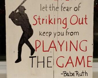 Baseball barnwood sign