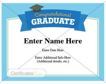Graduation Certificate, graduation wishes, Congratulations Graduate, high school graduation, kid certificate, diploma, child certificate