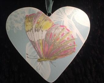Wooden Butterfly Heart
